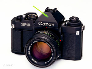 Vorderansicht Canon New F-1 mit dem CANON Eye Level Finder FN