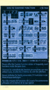 Canon EOS-1V Custom Function Sticker